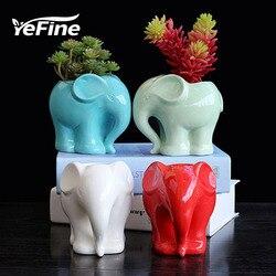 Yefine zakaka cerâmica carnuda vaso de flores criativo dos desenhos animados elefante planta pote cultura moda horticultura mesa decoração