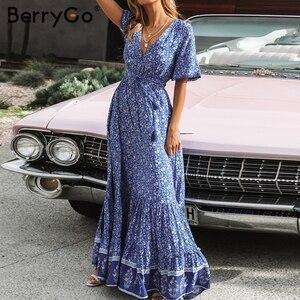 Image 5 - BerryGo vestiti dalle donne Della Boemia abiti di stampa vestito da estate manica Corta increspato lungo maxi vestito con scollo a v con coulisse signore abiti