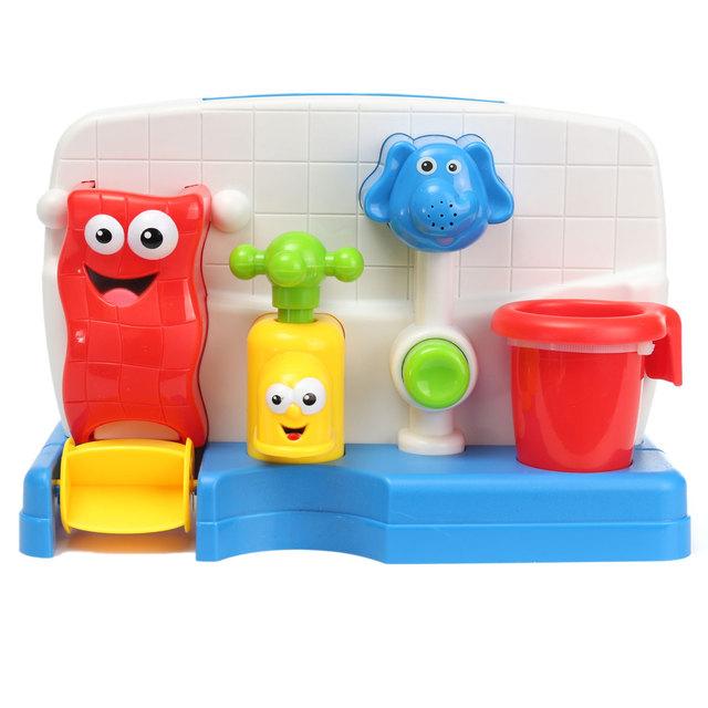 Playa de baño Piscina Salpicaduras de Agua Automática Jugar Juguete Precioso Grifo Formas Bebés Niño Brillante Colores Grifo Apuntalada