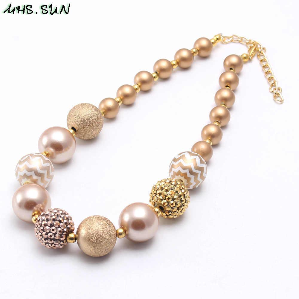 MHS. SONNE Gold Perle Strass Perlen Halskette Armbänder Kinder/Mädchen/Kind Chunky Bubblegum Schmuck Set Mode Geburtstag Geschenk