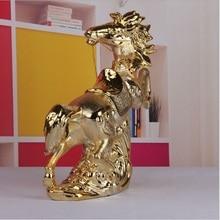 Feng Shui ceramic crafts creative Zhaocai horse lucky Pentium office decoration