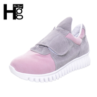HEE GRAND New Spring Women Shoes Korean Style Vintage Flock Easy Hook Loop Closed Platform Casual
