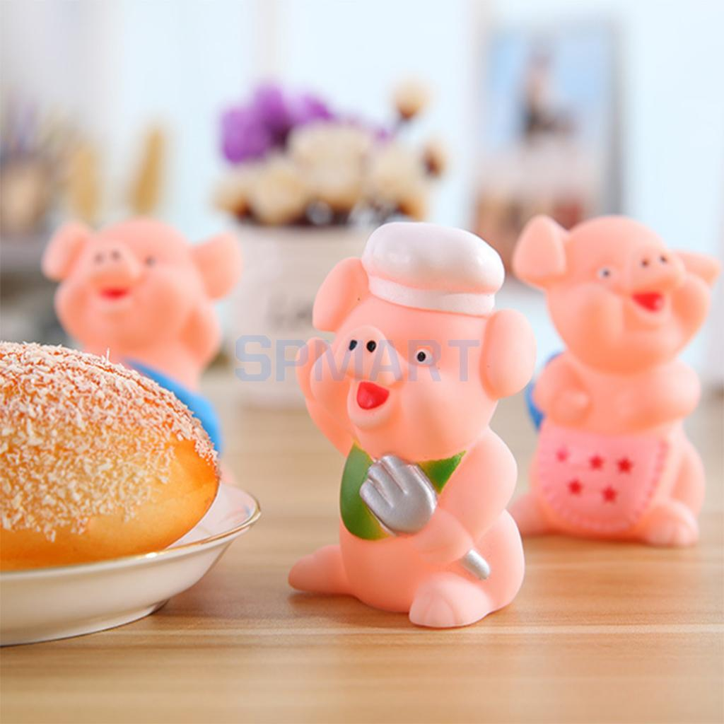 3pcs Squeaky Floating Pig Animals Pinching Sound Model Baby Kids Bath Toy Indoor Outdoor Pretend Play Home Decor
