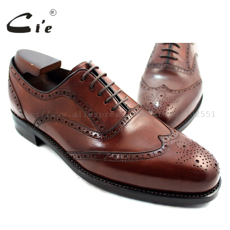cie Free shipping Bespoke Custom Calf Leather Upper Outsole Handmade Genuine Calf Leather Men's Oxford Shoe Dark Brown No.OX226 cie free shipping mackay craft bespoke handmade pure genuine calf leather outsole men s dress classic derby dark gray shoe d47