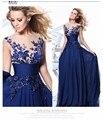 Royal Blue 2017 Barato Vestidos de Dama de Debajo de 50 Una Línea Cap Mangas de Gasa Bordado Banquete de Boda Vestidos Largos