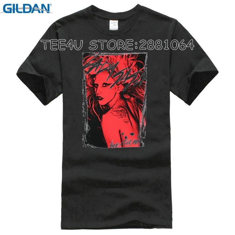 2017 Direct Selling Promotion Fashion Broadcloth Cotton Print Tee4u Awesome Tees O-neck Men Lady Gaga Streaked Short Sleeve