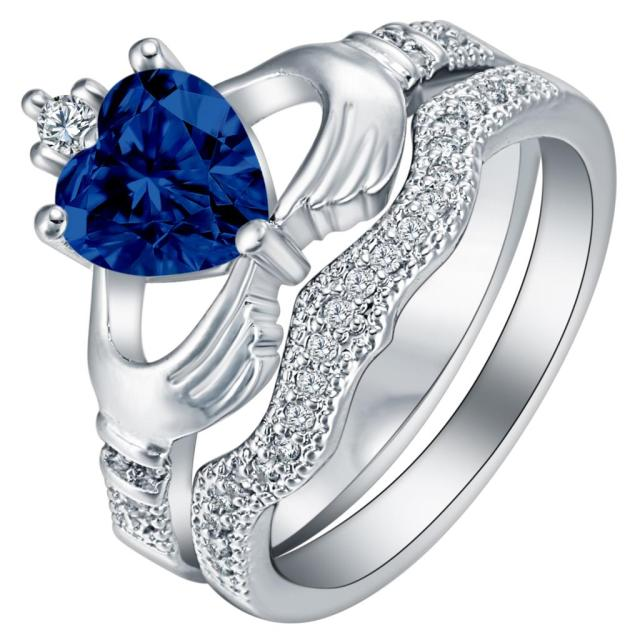 New Royal Blue Zirconia Stone cz Rings Set for Women Love Engagement