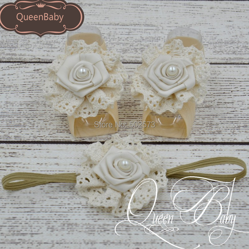 120set/lot  Baby Barefoot Sandals With  Satin Rosette And Pearl Matching Baby Headband  Luxe Barefoot Luxe Headband