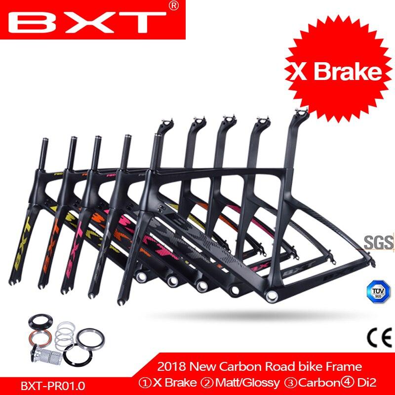 Brand BXT 2018 carbon road bike frames racing bike frame super light aero design carbon road frame BSA cycling frameset