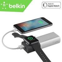 Belkin mfi контроллеров Сертификация Комплекты внешних аккумуляторов Мощность банк 2in1 6700 мАч Беспроводной Зарядное устройство для Apple Watch для