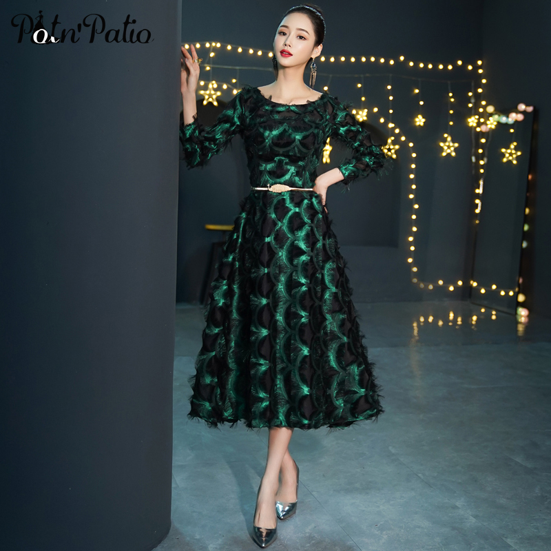 Elegant Long Sleeve   Evening     Dresses   O-neck A-line Tea-Length Lace Green Formal Gown Plus Size Mother Of The Bride   Dresses