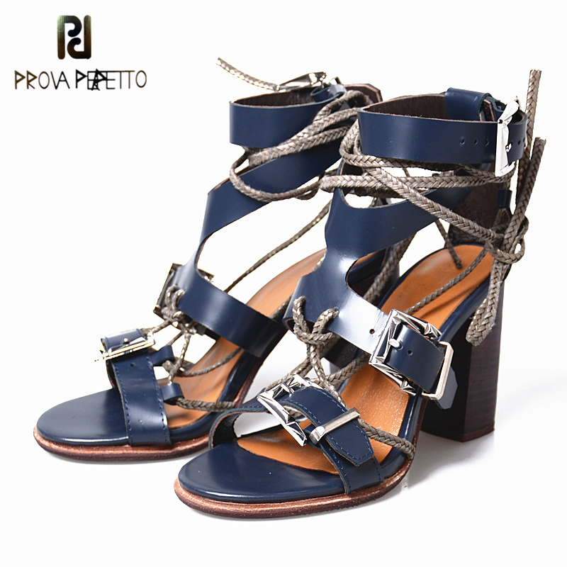 Prova Perfetto Summer Real Leather Women Pump Shoe Peep Toe Rome Sandal Cross-tied Buckle Strap High Heel Gladiator Women Sandal women colorful embroidery summer sandal shoes thick square high heel ankle buckle strap gladiator sandals nice floral grils shoe