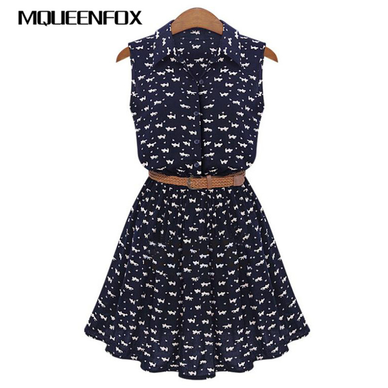 Women Cat Footprints Pattern Show Thin Shirt Dress 2020 New Design Summer Dresses With Belt Women Shirts Dress Chiffon Vestido