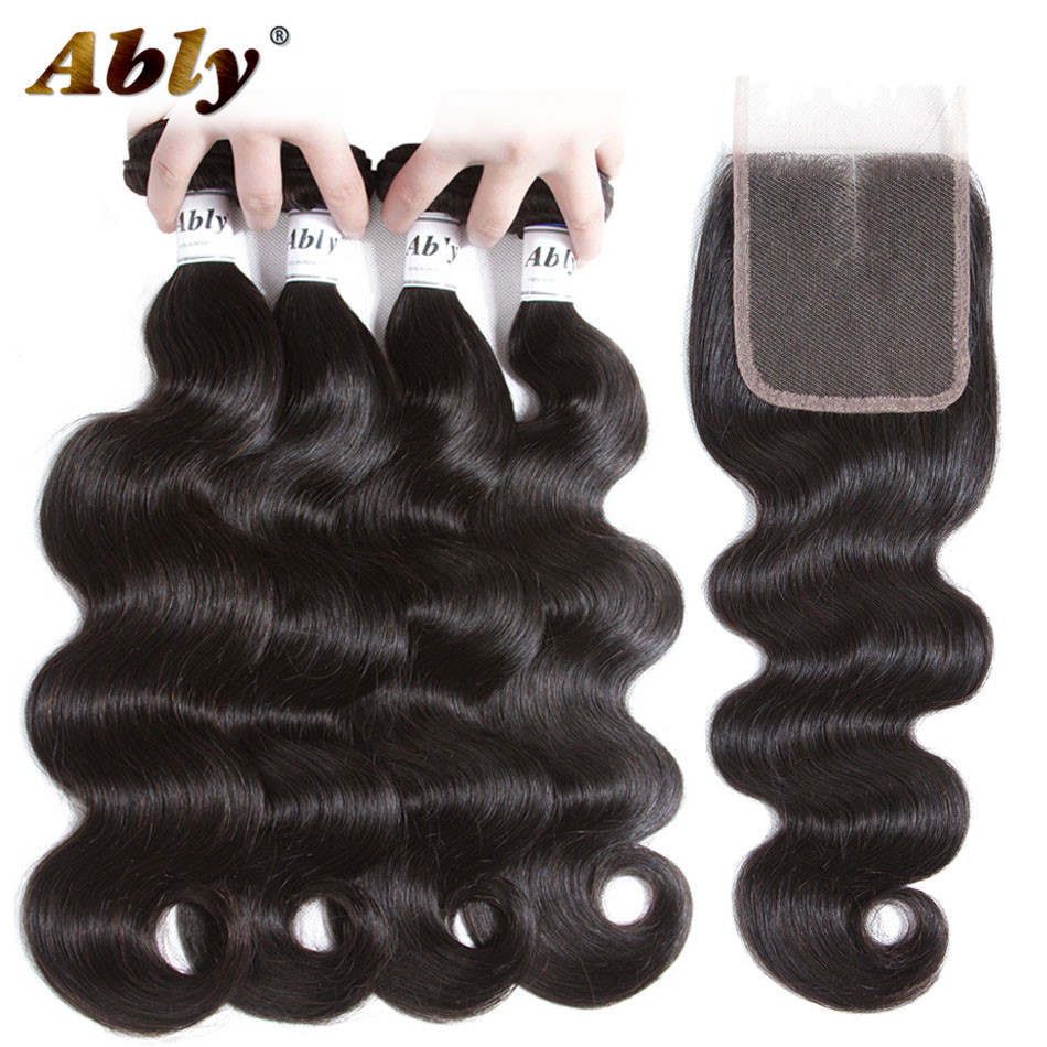 Brazilian Body Wave Hair Bundles With Closure Ably 100% Raw Remy Human Hair Weft Weave Body Wave Hair 4 Bundles With Closure