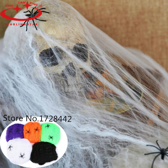 1 pcs 5 Colors Novetly Stretchable Spider web Halloween Cobwebs Halloween Decoration Party Prop