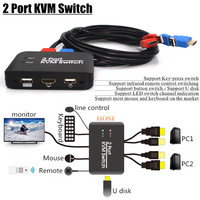 2 Port KVM Switch USB2.0 HDMI2.0 Support U Disk/Key press Switch/LED Switch Channel/Mouse&Keyboard Control Multiple PC Computer
