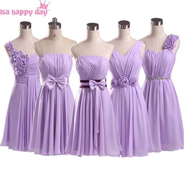 light purple party dresses lilac a line chiffon bridesmaid elegance short  big size dress for wedding party knee length B1951 720e81f47ea5