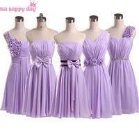 light purple party dresses lilac a line chiffon bridesmaid elegance short big size dress for wedding party knee length B1951