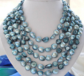 "Free Shipping ***Hot sale >100"" 9-11mm blue baroque freshwater pearl necklace"