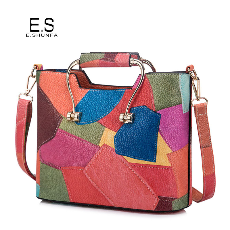 Patchwork Shoulder Bags Womens 2018 New Fashion Casual PU Leather Shoulder Bag Flap Colorful Small Crossbody Bags For Women new arrivals fashion patchwork clutches women handbag pu leather shoulder bag envelope bags pochette bags dec19