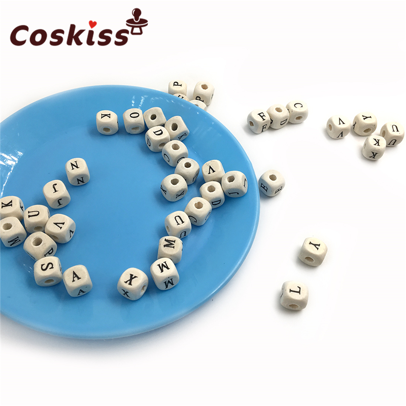 50pcs 10mm Natural Wood Alphabet Beads A-Z Letter Beads For Bracelets Baby Smooth Teether Jewelry Pacifier Chain DIY