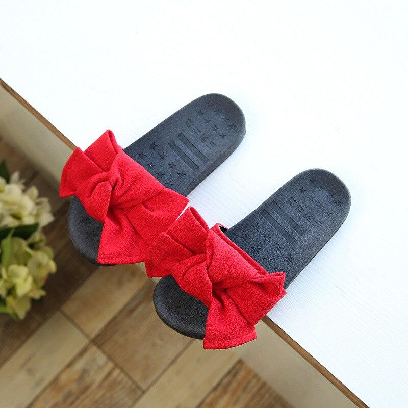2018 neue für den Sommer Mädchen Hausschuhe Casual Version der Bogen Hausschuhe Mädchen Strand Hausschuhe Weiche Gummi Mädchen Indoor-Schuhe