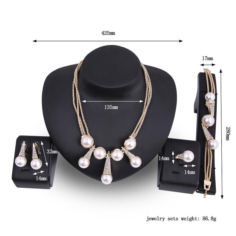 Kingdom Ma couleur or nigérian mariage perles ensemble de bijoux Dubai mariée demoiselle d'honneur Imitation perle de mariage élégant fête cadeau ensembles - 6