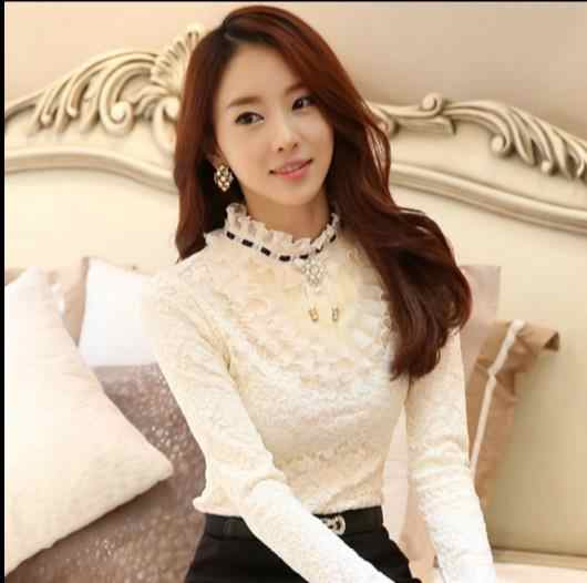 High Quality Autumn Winter New Arrival Korean Plus Size S-XXL High Collar Thicken Fleeces Lace Blouse E399