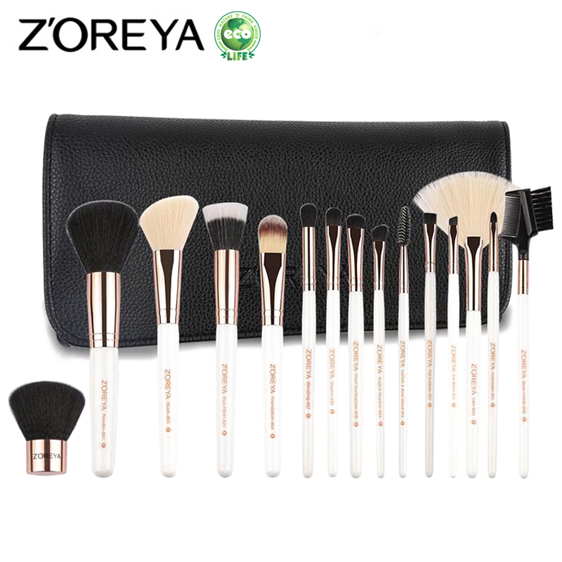 ZOREYA 15pcs Makeup Brushes Professional makeup Set Foundation Blending Coutour Eyeliner Brush Cosmetic Make Up Brush Tool Kits 24pcs professional makeup natural wooden handle brushes set foundation blending brush tool make up brushes with bag sponge puff