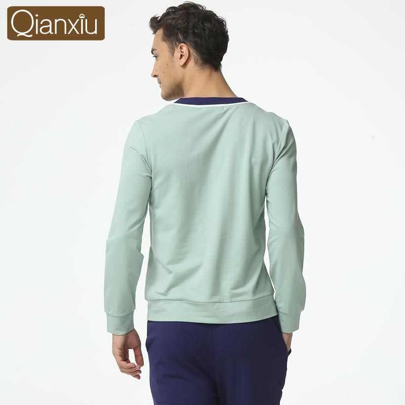 Qianxiu Moderne Pajama Sets Mannen Modal Katoen Pijama Hombre Plus size Vest mannen Nachtkleding 1619