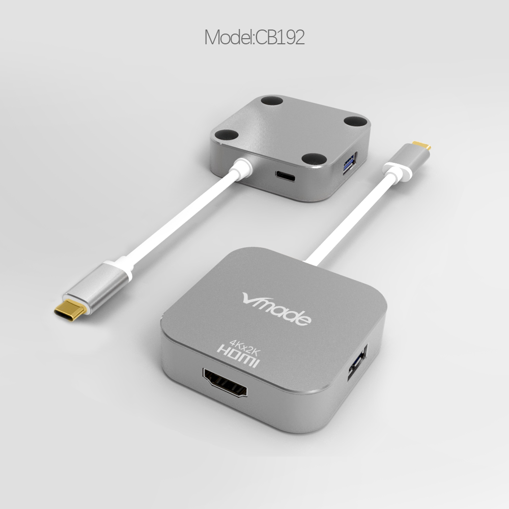 Image 2 - Vmade Hot Sale Type C USB C 3.0 HUB to HDMI 4 in 1 Mini Adapter Support audio and video transmission for Huawei/Samsung S8/S8+-in USB Hubs from Computer & Office