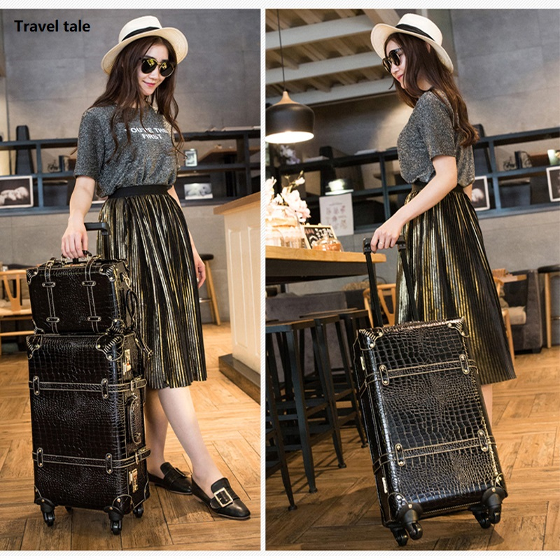 CARRYLOVE Fashion Password Restoring Ancient Ways PU 22/24  Inch Size Handbag And Rolling Luggage Spinner Travel Suitcase