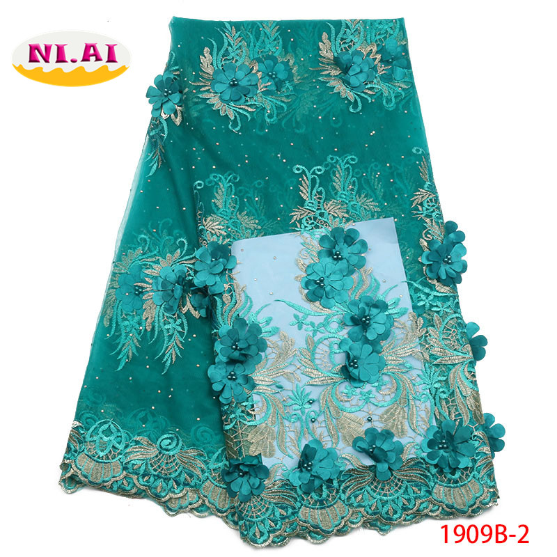Luxury Lace Fabric 3D Lace Beaded Fabric Royal Blue Black Lace Fabric African Lace Fabric For