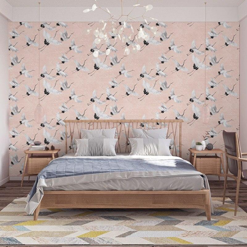 Fond chinois papier peint grue blanche nouveau Style chinois salon chambre étude Restaurant papiers peints décor à la maison