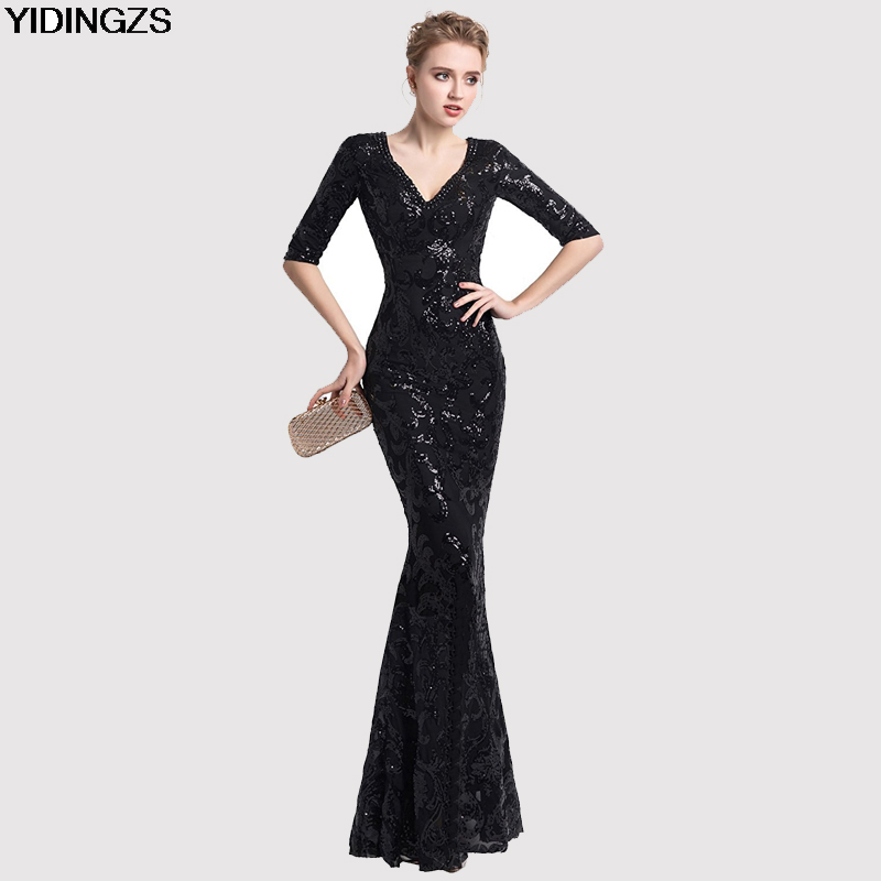 YIDINGZS Women Half Sleeve Beaded Sequins Prom Dress Mermaid V Neck Party Evening Dress