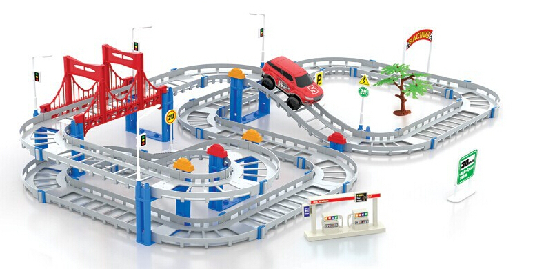 Christmas Gift 3D Two-Layer Spiral Wheels Track Roller Electric Rail Car Children Toys betterThan Thomas And Friends Trackmaster ...