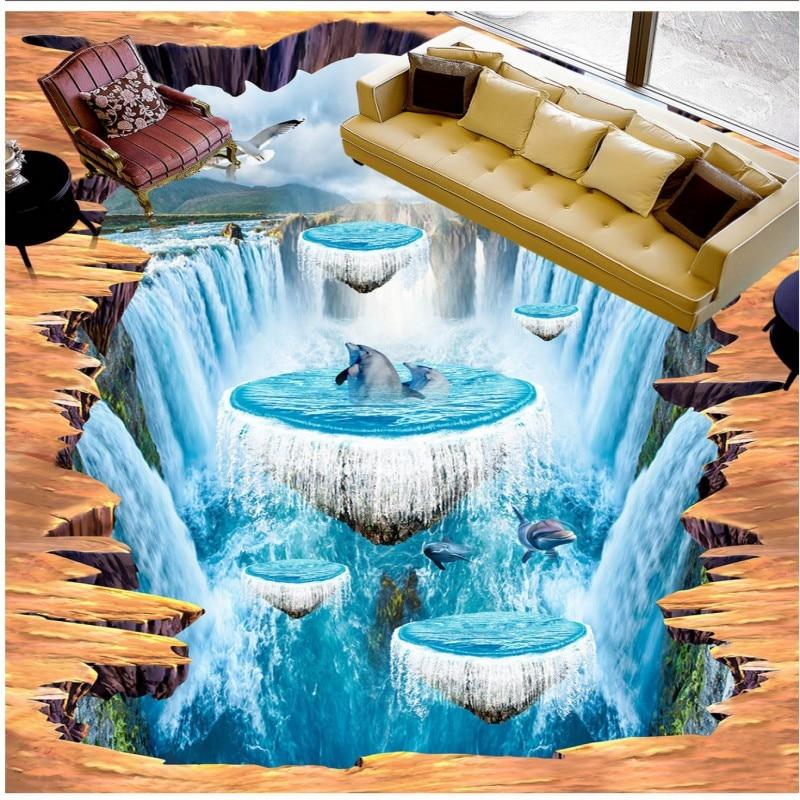 US $138.88 38% OFF|Freies verschiffen 3D benutzerdefinierte stereo boden  tapete wohnzimmer aquarium park schlafzimmer baderaum rutschfeste tragen ...