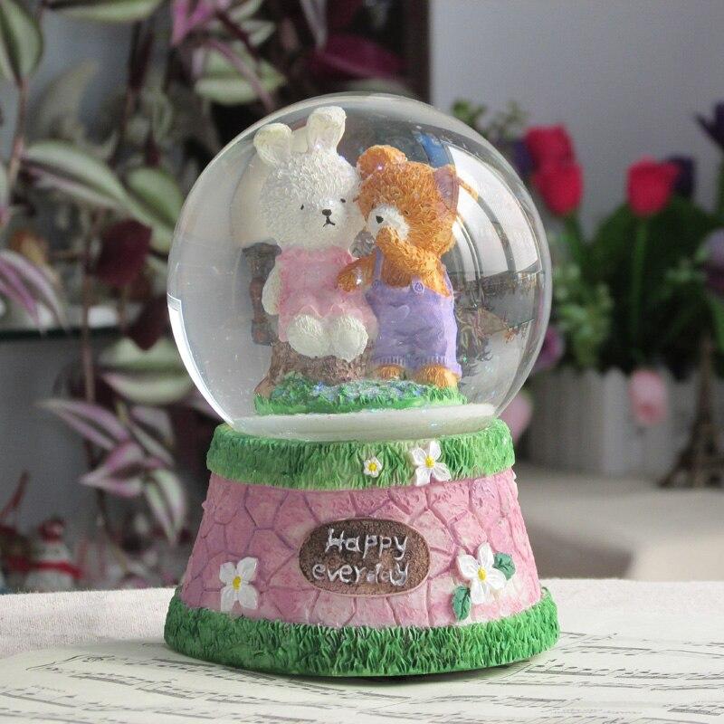 Zm Snow Flower Crystal Ball Rotating Music Box To Send