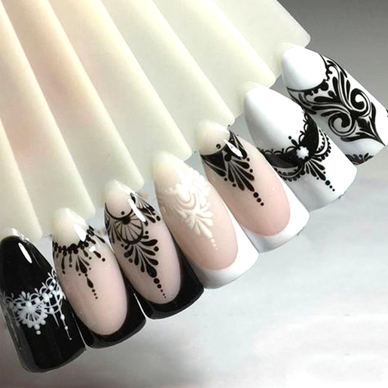 Lace Decoration Nail-Art-Sticker Transfers-Sliders Water-Decals Flower Witch Black Full-Beauty