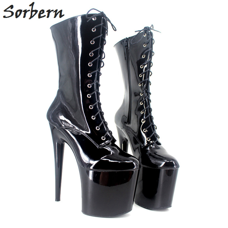 98a44f6ef20 Shiny De black Matt Tacón 20 Black Cm Negro Plataforma Para Personalizados Tacones  Botas pink Señoras Mujeres Alto 9 Zapatos Sexy ...
