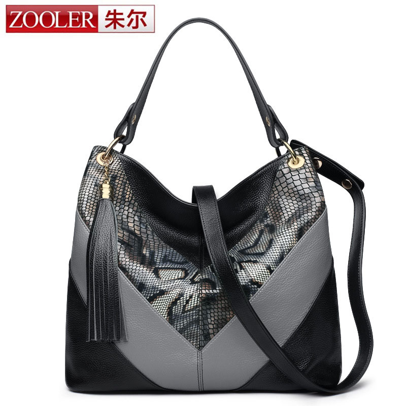 ZOOLER Genuine Leather Bag Luxury Handbags Women Bags Serpentine Pattern Designer Women Shoulder Messenger Bags Top-handle Bags tango