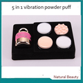 Free shipping! 5 in 1 Electric 3d auto cosmetic facial makeup vibration foundation power puff applicator with ring handle