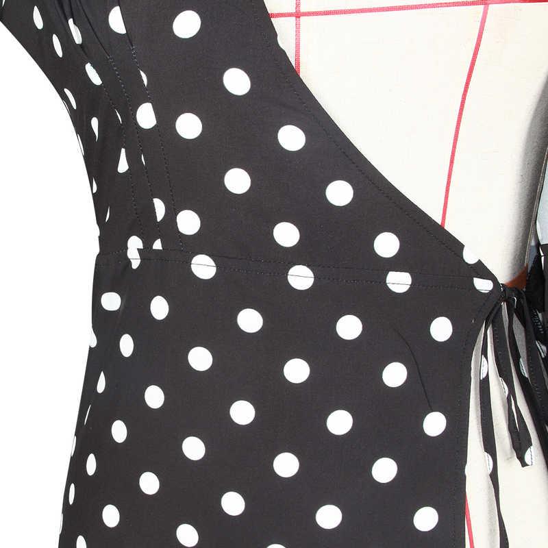 Винтажное длинное платье в горошек, черное, красное элегантное платье макси с поясом, платье для работы, Vestidos De Festa, элегантное вечернее Клубное платье