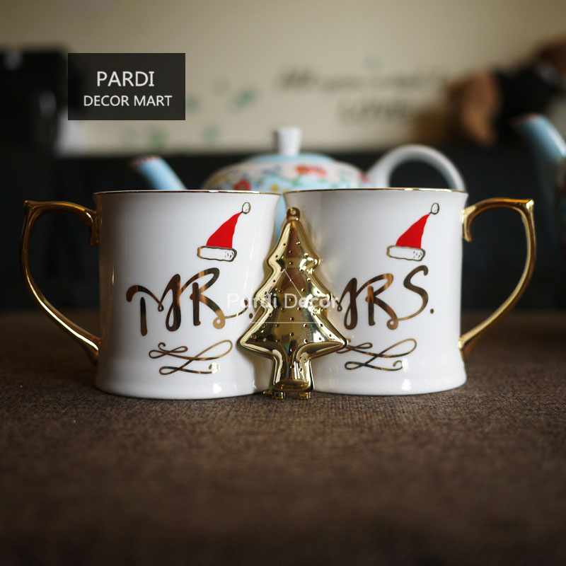 Christmas Gift Coffee Mug Mr& Mrs Golden Handle Coffee Mug ...