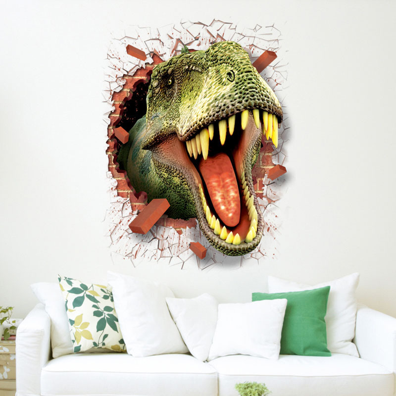 dinosaur stickers removable green 3D dino sticker painting home decor picture for children decorative car wall decor stickers-in Wall Stickers from Home & Garden