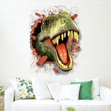 dinosaur stickers removable green 3D dino sticker painting home decor picture for children decorative car wall