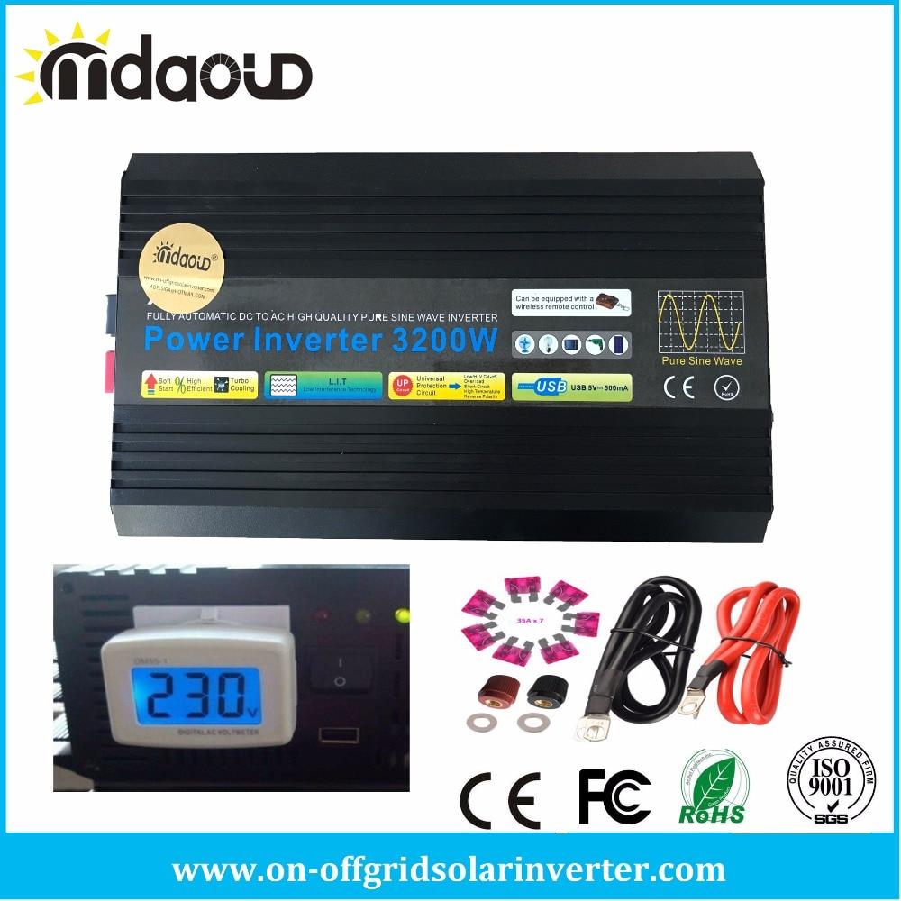 3200W 12V/24V/48V DC to 110V/120V/220V/230V AC Pure Sine Wave Home Inverter Peak 6400W Power Back up Generator with LED Display