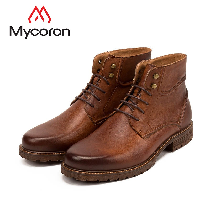 MYCORON 2018 Autumn And Winter New Men High Boots Leather British Boots Leather Lace-Up Breathable Shoes Bota Masculina Couro