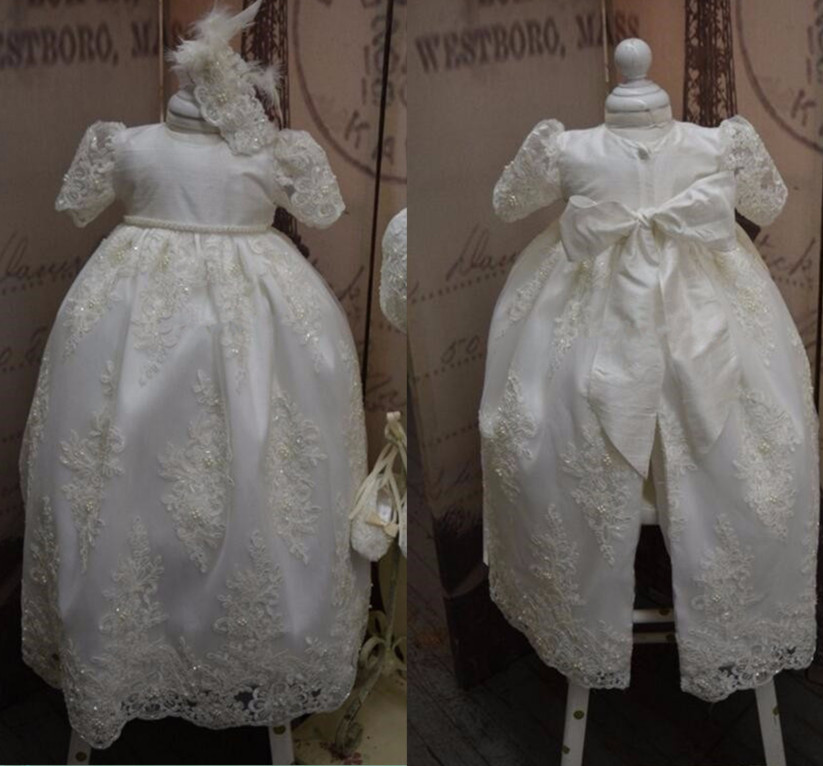 New White Ivory Christening Gown Baby Girls Boys Toddler Lace Pearls Long Baptism Dress With Bonnet 2016 new baby infant christening dress lace applique white ivory boys girls baptism gown with bonnet with belt