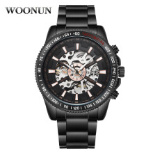 hot deal buy woonun men steampunk black cross mechanical watches stainless steel automatic self-wind skeleton watches 30m waterproof